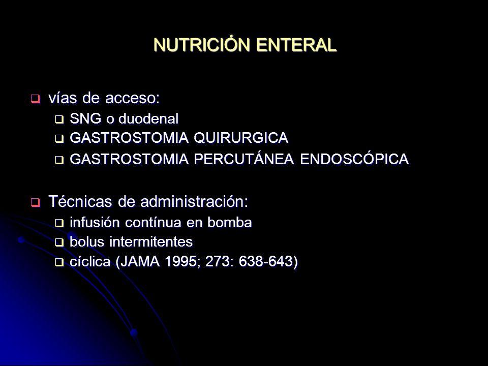 NUTRICIÓN ENTERAL vías de acceso: vías de acceso: SNG o duodenal SNG o duodenal GASTROSTOMIA QUIRURGICA GASTROSTOMIA QUIRURGICA GASTROSTOMIA PERCUTÁNE