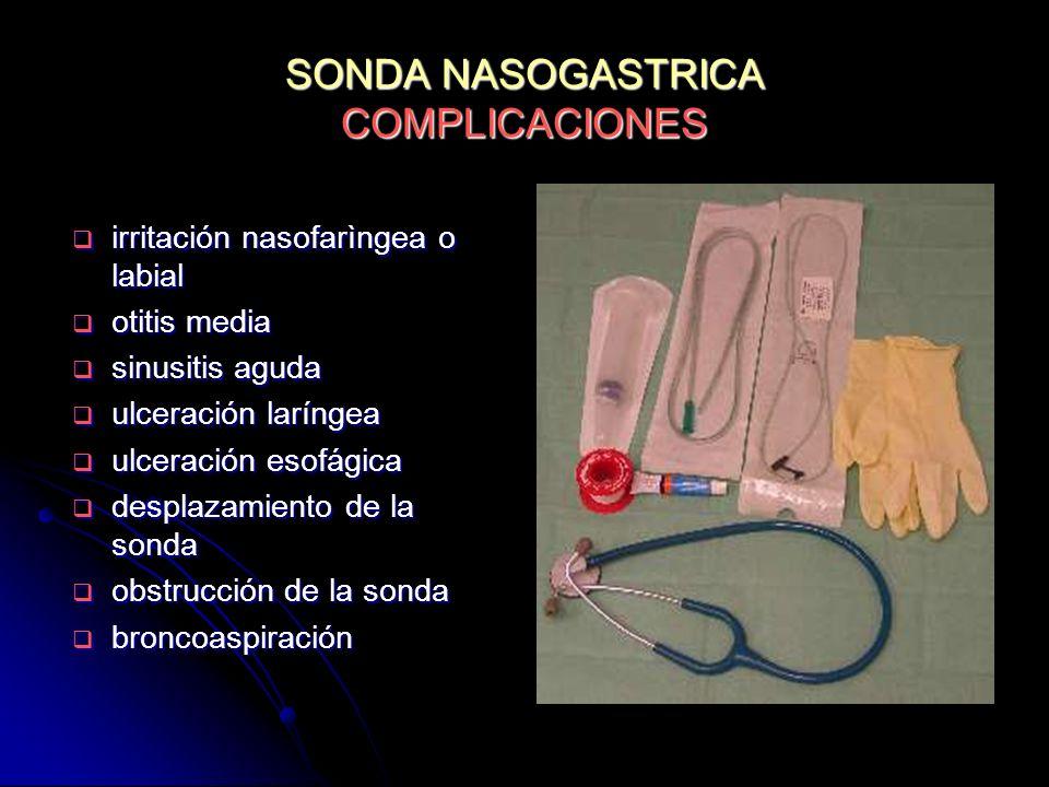 SONDA NASOGASTRICA COMPLICACIONES irritación nasofarìngea o labial irritación nasofarìngea o labial otitis media otitis media sinusitis aguda sinusiti
