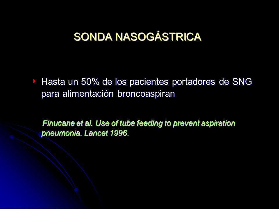 SONDA NASOGÁSTRICA Hasta un 50% de los pacientes portadores de SNG para alimentación broncoaspiran Hasta un 50% de los pacientes portadores de SNG par