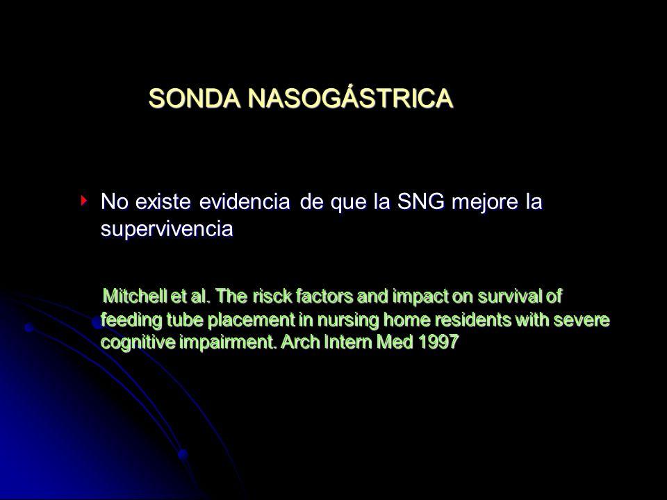 SONDA NASOGÁSTRICA No existe evidencia de que la SNG mejore la supervivencia No existe evidencia de que la SNG mejore la supervivencia Mitchell et al.