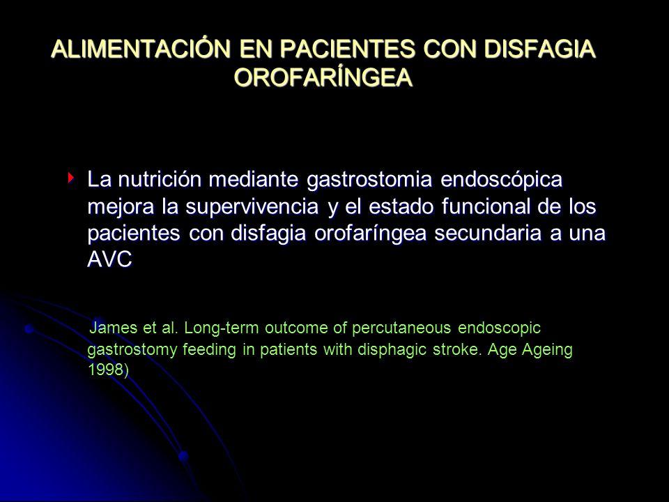 ALIMENTACIÓN EN PACIENTES CON DISFAGIA OROFARÍNGEA La nutrición mediante gastrostomia endoscópica mejora la supervivencia y el estado funcional de los