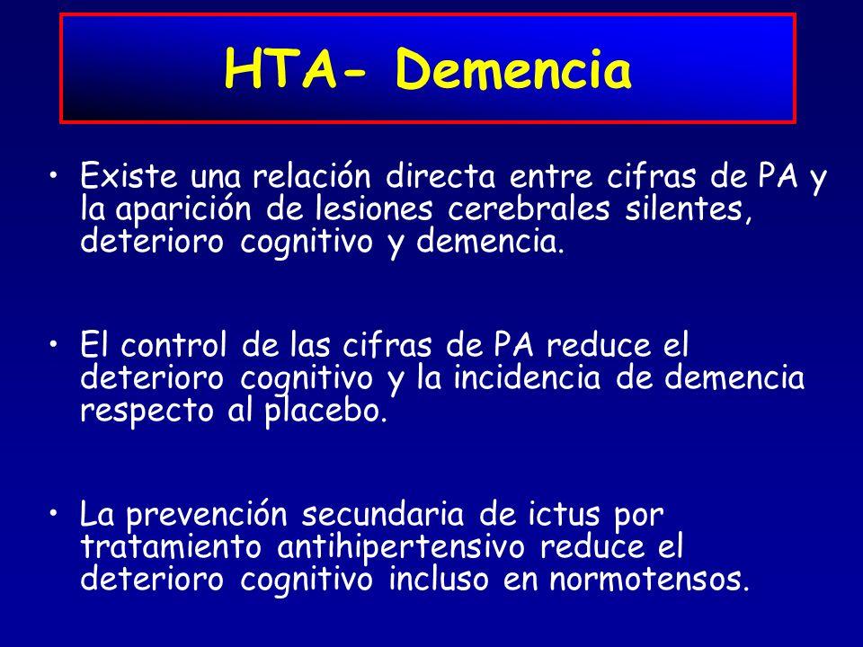 HTA- Demencia Existe una relación directa entre cifras de PA y la aparición de lesiones cerebrales silentes, deterioro cognitivo y demencia. El contro