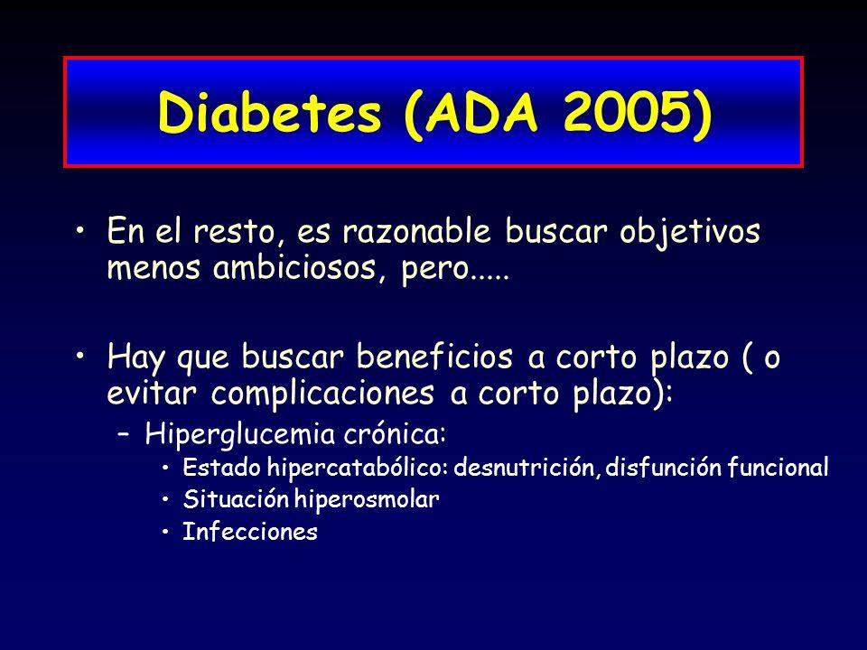 Diabetes (ADA 2005) En el resto, es razonable buscar objetivos menos ambiciosos, pero..... Hay que buscar beneficios a corto plazo ( o evitar complica