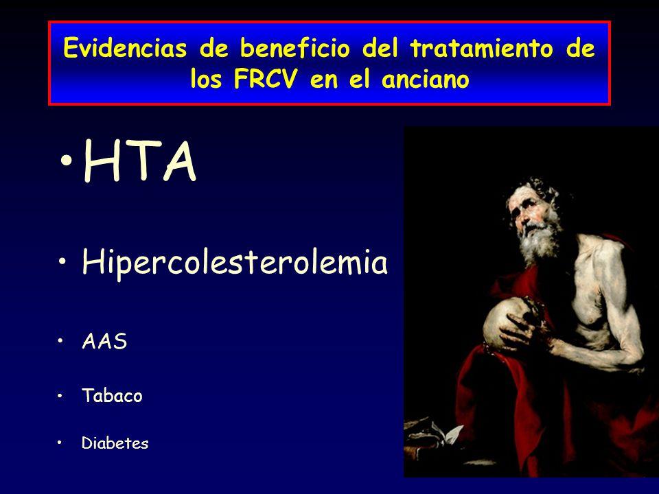 Evidencias de beneficio del tratamiento de los FRCV en el anciano HTA Hipercolesterolemia AAS Tabaco Diabetes