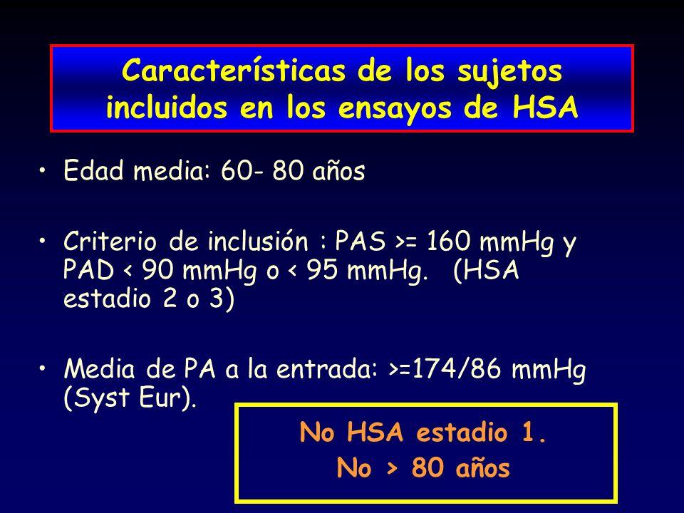 Características de los sujetos incluidos en los ensayos de HSA Edad media: 60- 80 años Criterio de inclusión : PAS >= 160 mmHg y PAD < 90 mmHg o < 95