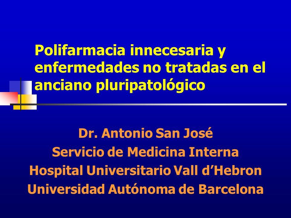 Polifarmacia innecesaria y enfermedades no tratadas en el anciano pluripatológico Dr. Antonio San José Servicio de Medicina Interna Hospital Universit