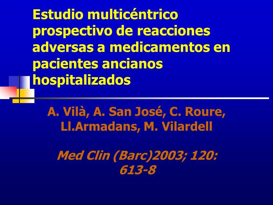 Estudio multicéntrico prospectivo de reacciones adversas a medicamentos en pacientes ancianos hospitalizados A. Vilà, A. San José, C. Roure, Ll.Armada