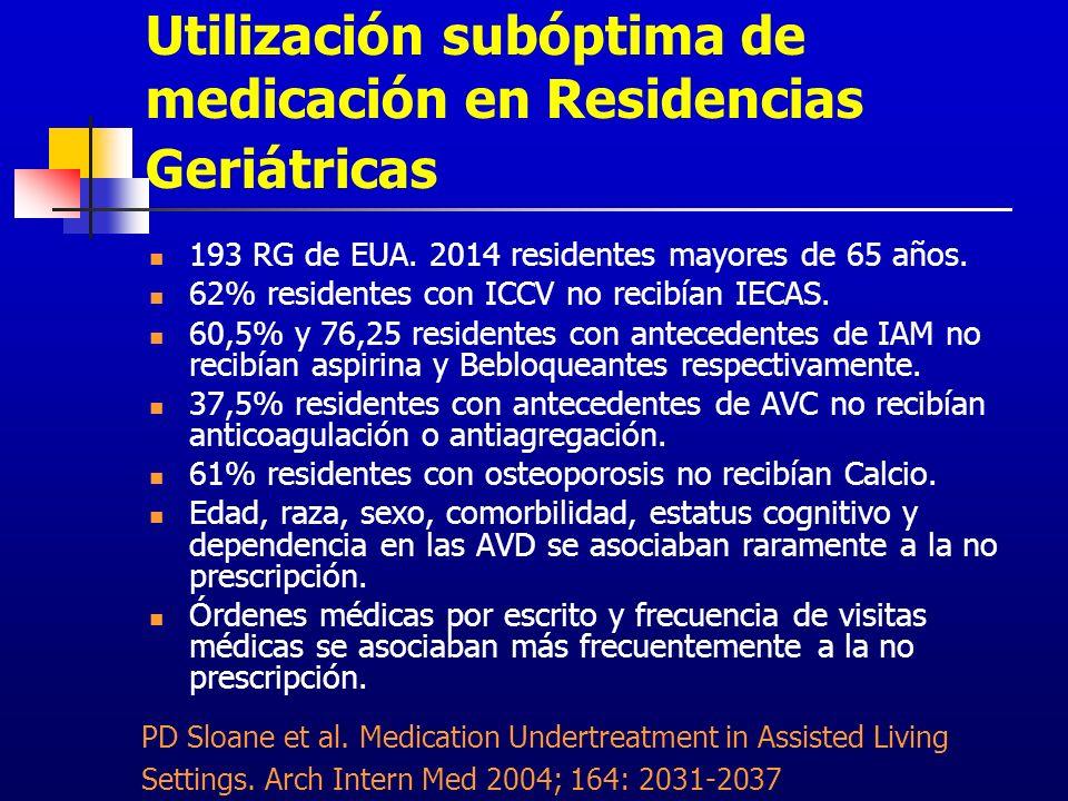 Utilización subóptima de medicación en Residencias Geriátricas 193 RG de EUA. 2014 residentes mayores de 65 años. 62% residentes con ICCV no recibían