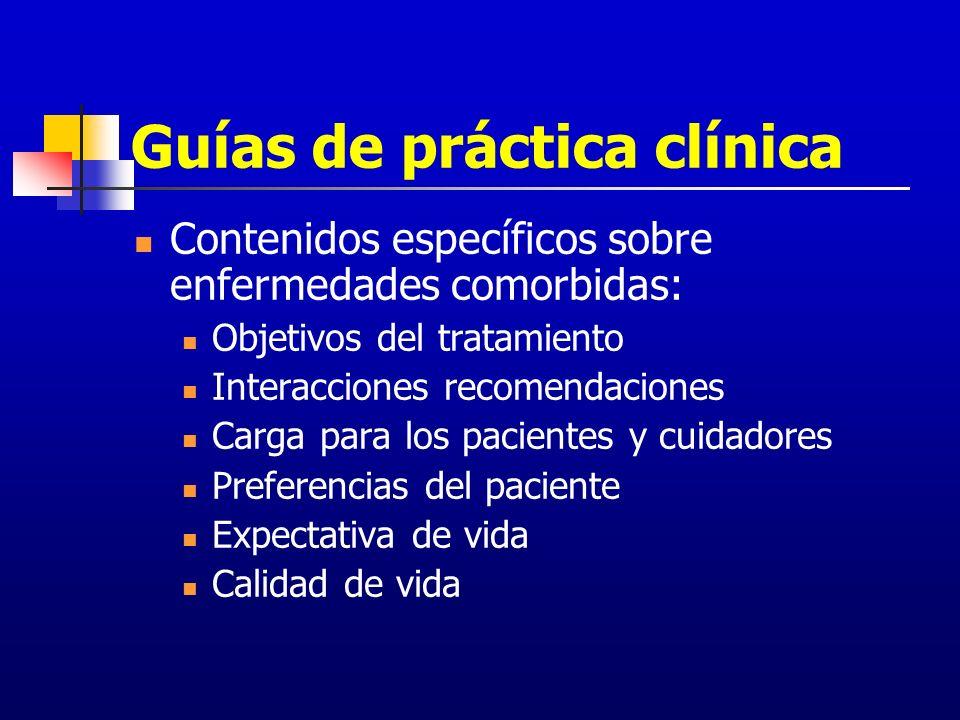 Guías de práctica clínica Contenidos específicos sobre enfermedades comorbidas: Objetivos del tratamiento Interacciones recomendaciones Carga para los