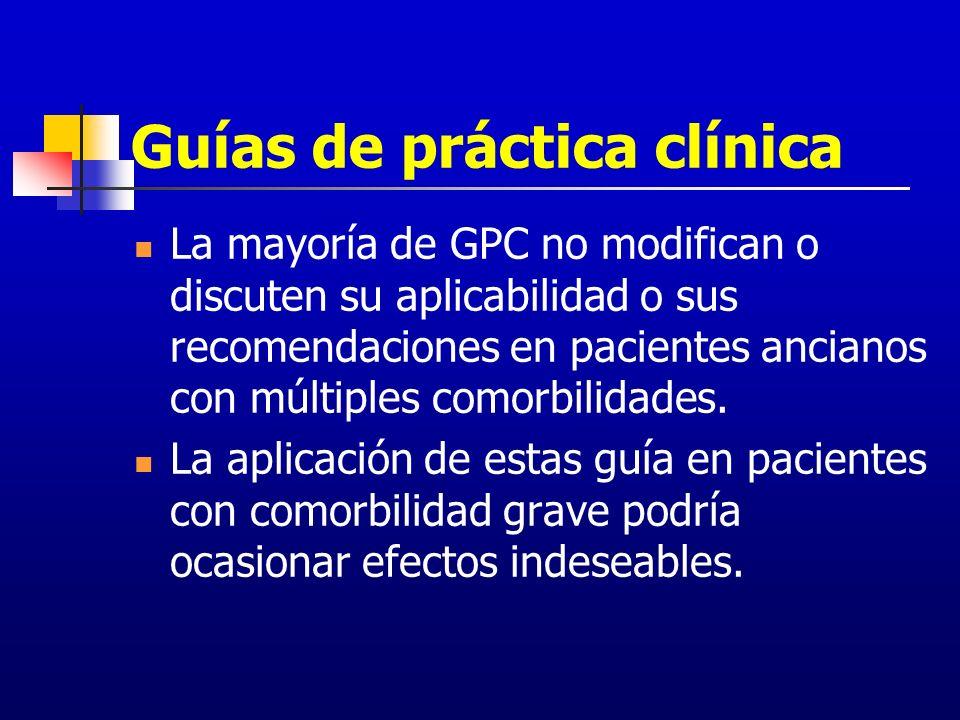 Guías de práctica clínica La mayoría de GPC no modifican o discuten su aplicabilidad o sus recomendaciones en pacientes ancianos con múltiples comorbi