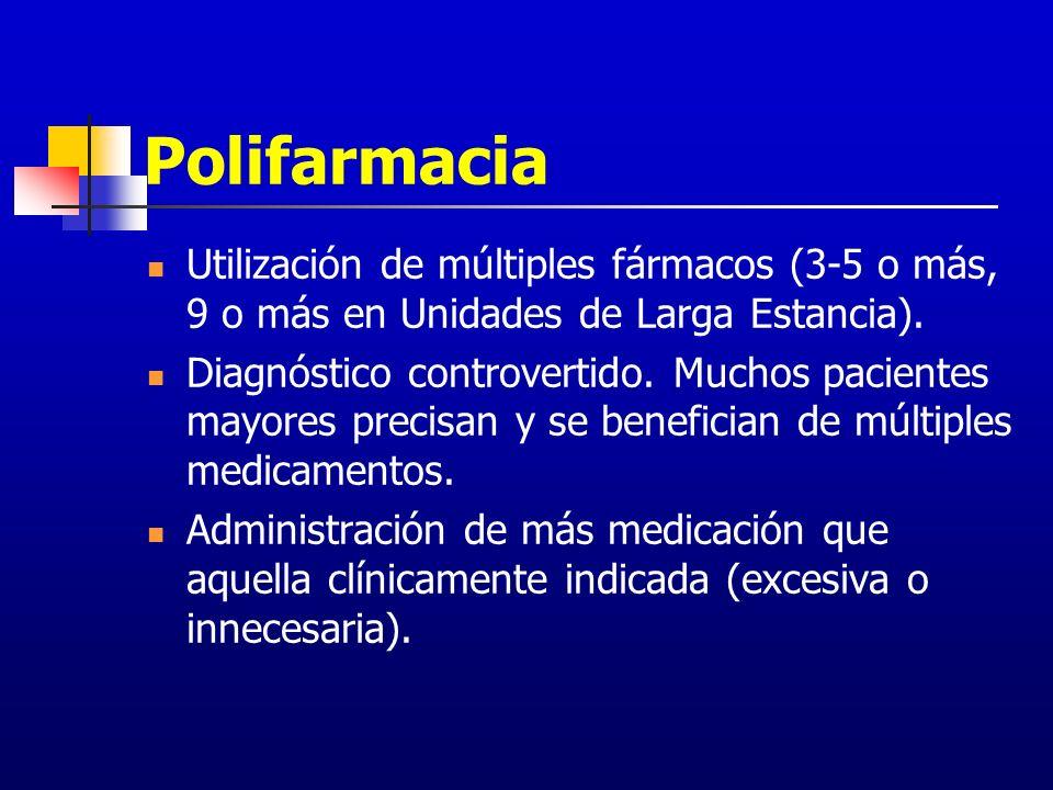 Polifarmacia Utilización de múltiples fármacos (3-5 o más, 9 o más en Unidades de Larga Estancia). Diagnóstico controvertido. Muchos pacientes mayores