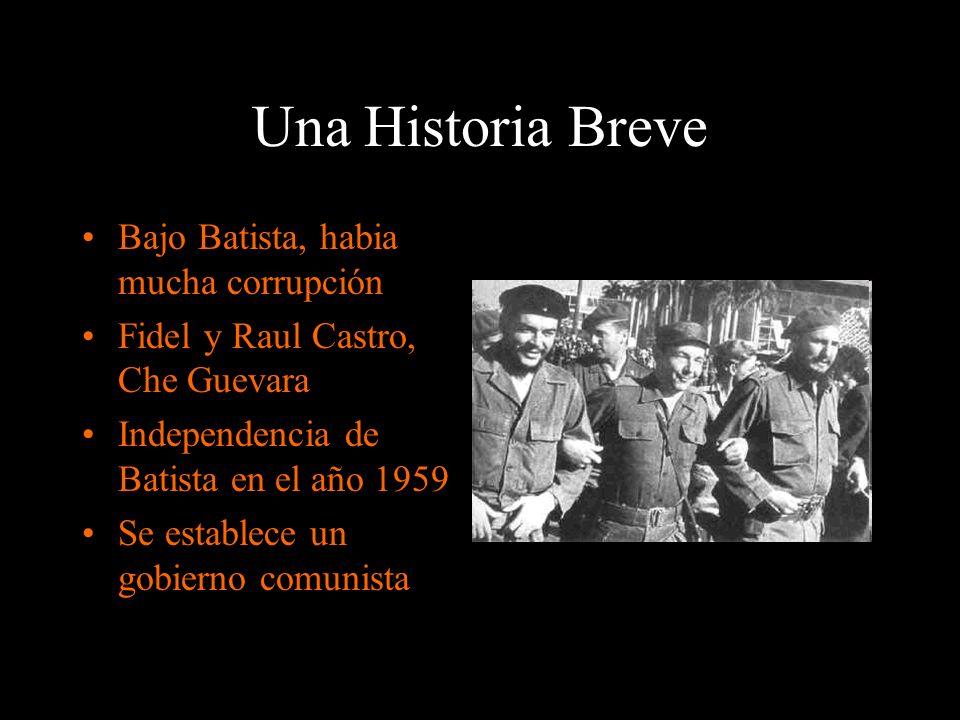 Una Historia Breve Bajo Batista, habia mucha corrupción Fidel y Raul Castro, Che Guevara Independencia de Batista en el año 1959 Se establece un gobie
