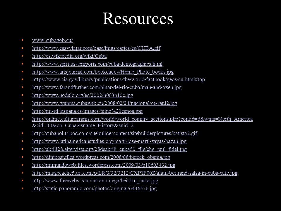 Resources www.cubagob.cu/ http://www.easyviajar.com/base/imgs/cartes/es/CUBA.gif http://es.wikipedia.org/wiki/Cuba http://www.spiritus-temporis.com/cu