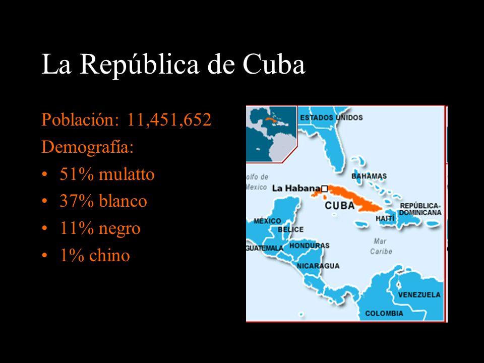 La República de Cuba Población: 11,451,652 Demografía: 51% mulatto 37% blanco 11% negro 1% chino