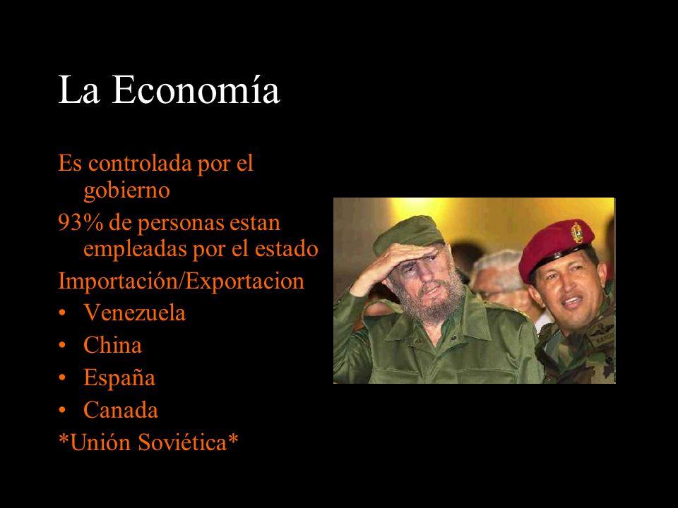 La Economía Es controlada por el gobierno 93% de personas estan empleadas por el estado Importación/Exportacion Venezuela China España Canada *Unión S
