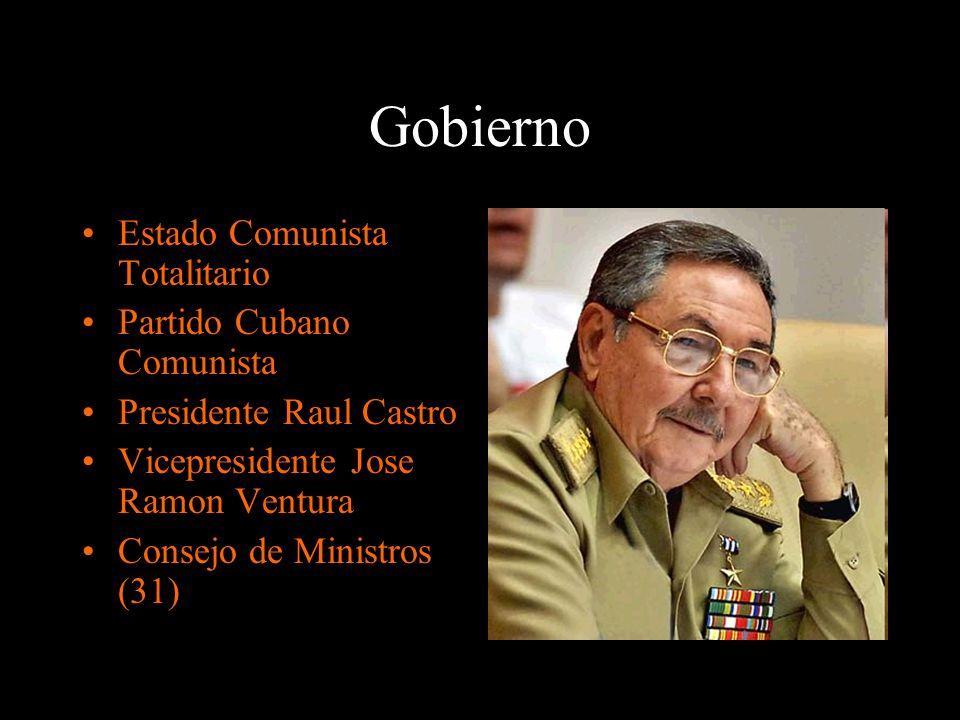 Gobierno Estado Comunista Totalitario Partido Cubano Comunista Presidente Raul Castro Vicepresidente Jose Ramon Ventura Consejo de Ministros (31)