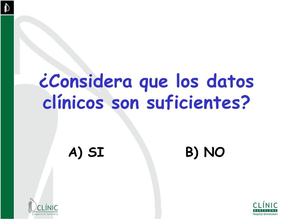 ¿Considera que los datos clínicos son suficientes? A) SIB) NO