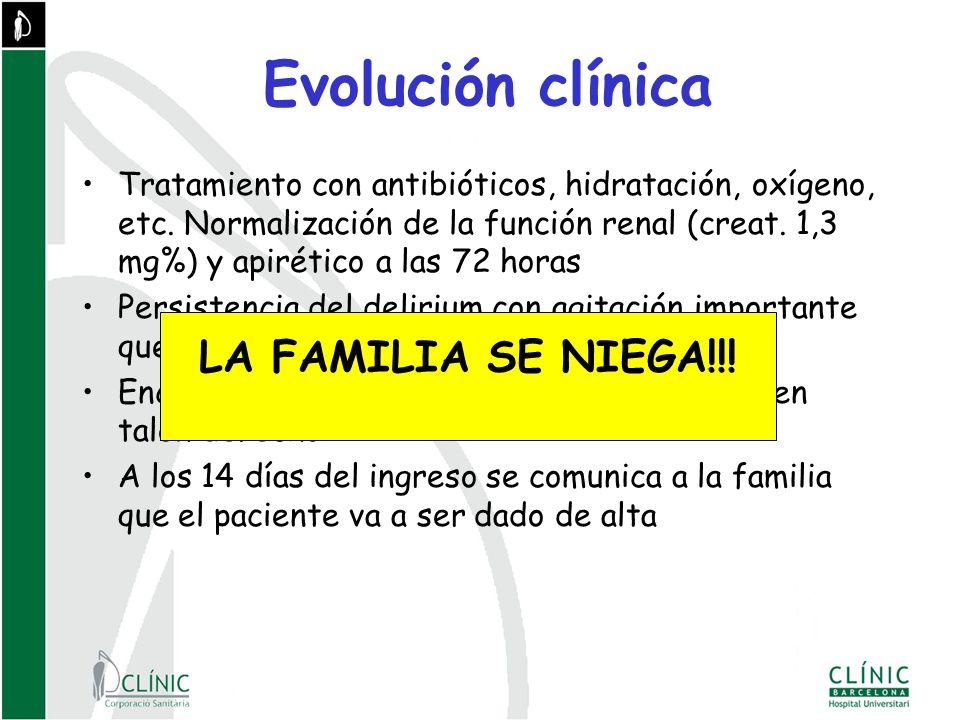 Evolución clínica Tratamiento con antibióticos, hidratación, oxígeno, etc.