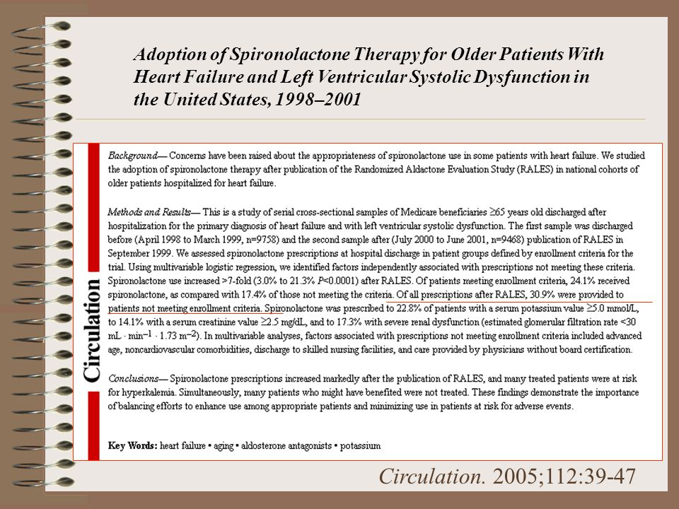 Adoption of Spironolactone Therapy for Older Patients With Heart Failure and Left Ventricular Systolic Dysfunction in the United States, 1998–2001 Cir
