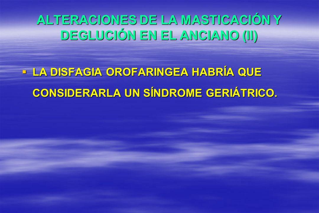 ALTERACIONES DE LA MASTICACIÓN Y DEGLUCIÓN EN EL ANCIANO (II) LA DISFAGIA OROFARINGEA HABRÍA QUE CONSIDERARLA UN SÍNDROME GERIÁTRICO. LA DISFAGIA OROF