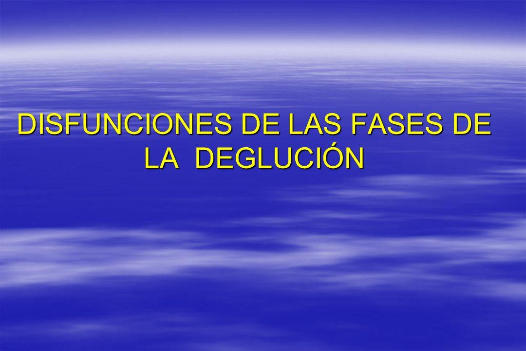 DISFUNCIONES DE LAS FASES DE LA DEGLUCIÓN