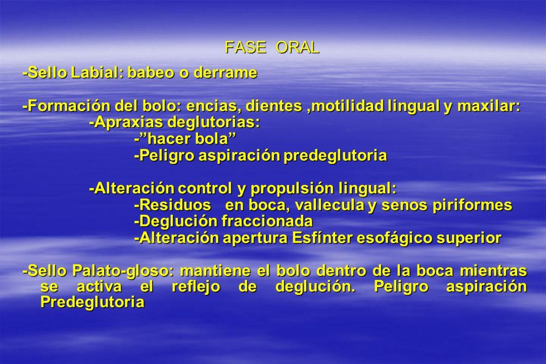 FASE ORAL -Sello Labial: babeo o derrame -Formación del bolo: encias, dientes,motilidad lingual y maxilar: -Apraxias deglutorias: -Apraxias deglutoria