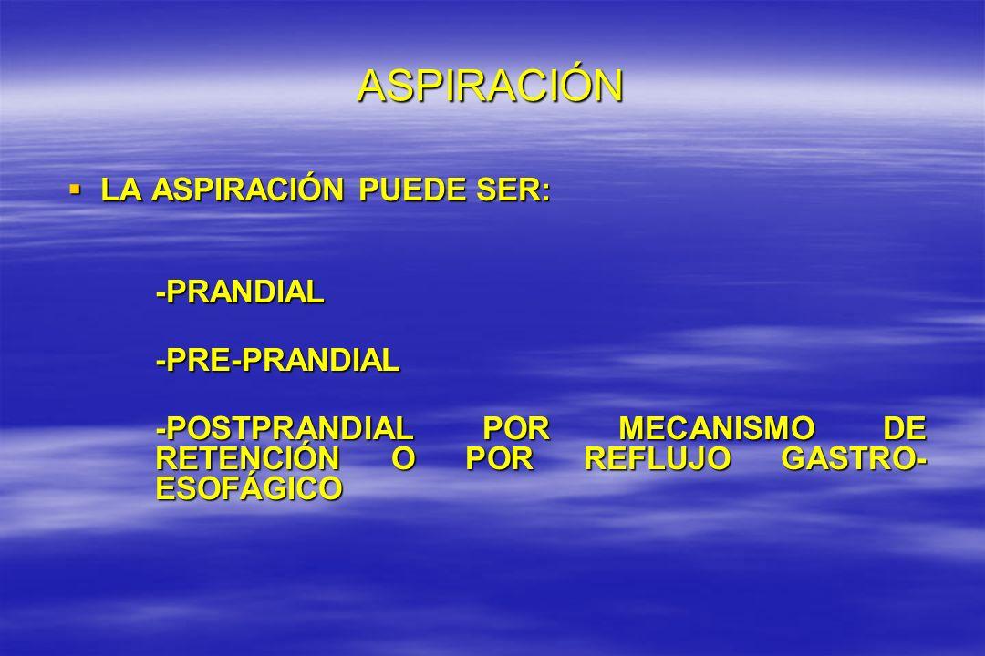 ASPIRACIÓN LA ASPIRACIÓN PUEDE SER: LA ASPIRACIÓN PUEDE SER: -PRANDIAL -PRANDIAL-PRE-PRANDIAL -POSTPRANDIAL POR MECANISMO DE RETENCIÓN O POR REFLUJO G