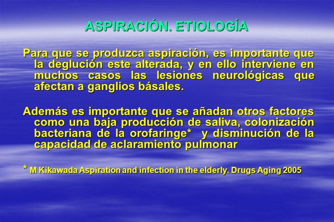 ASPIRACIÓN. ETIOLOGÍA Para que se produzca aspiración, es importante que la deglución este alterada, y en ello interviene en muchos casos las lesiones