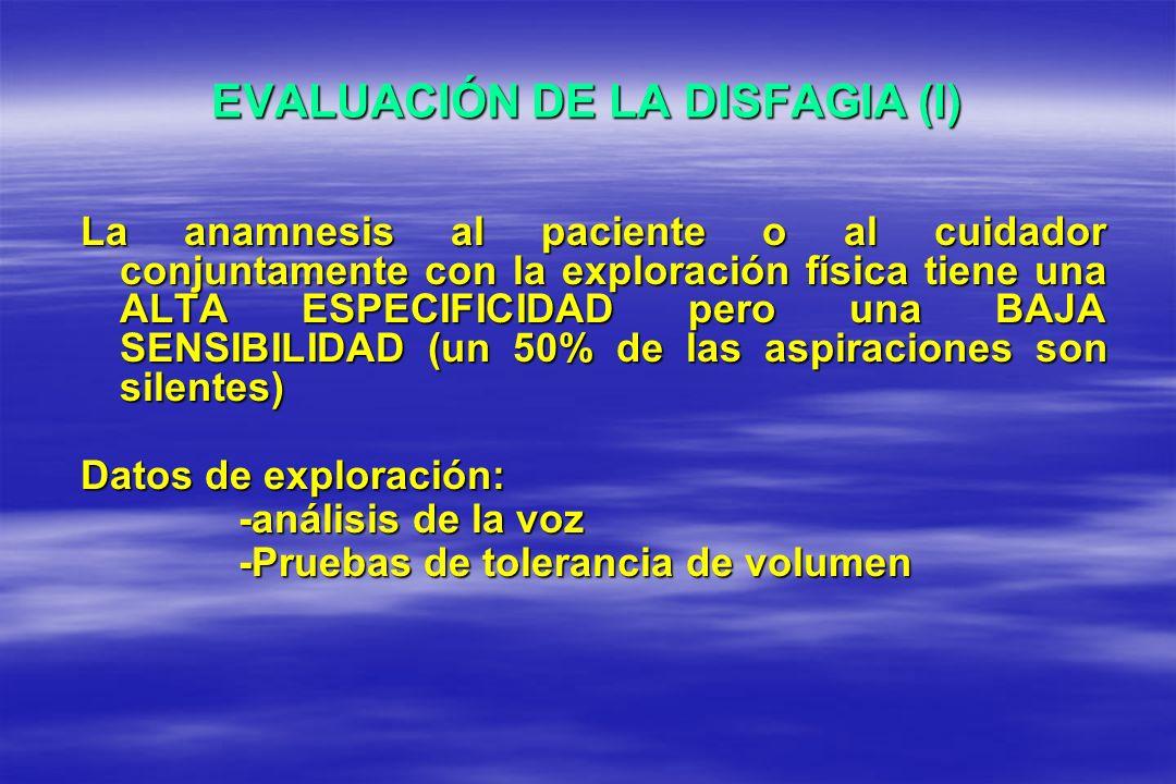 EVALUACIÓN DE LA DISFAGIA (I) La anamnesis al paciente o al cuidador conjuntamente con la exploración física tiene una ALTA ESPECIFICIDAD pero una BAJ