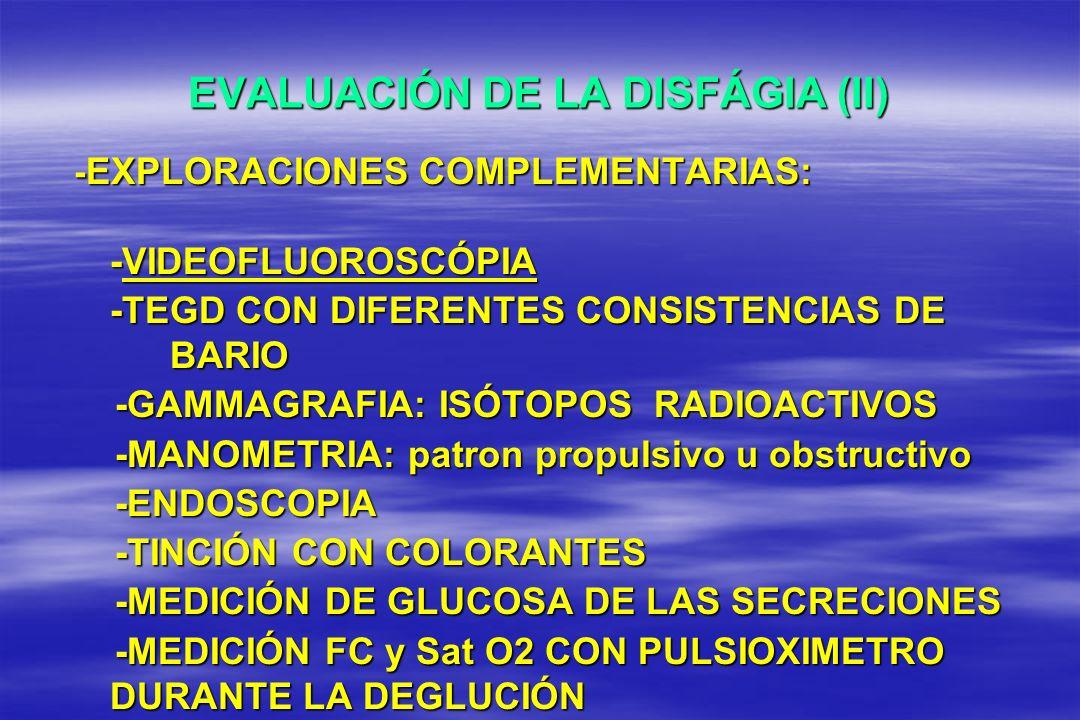 EVALUACIÓN DE LA DISFÁGIA (II) - EXPLORACIONES COMPLEMENTARIAS: -VIDEOFLUOROSCÓPIA -TEGD CON DIFERENTES CONSISTENCIAS DE BARIO -GAMMAGRAFIA: ISÓTOPOS
