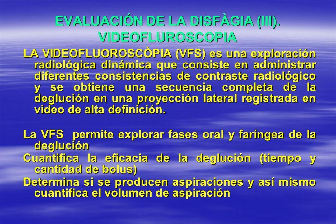 EVALUACIÓN DE LA DISFÀGIA (III). VIDEOFLUROSCOPIA LA VIDEOFLUOROSCÒPIA (VFS) es una exploración radiológica dinámica que consiste en administrar difer