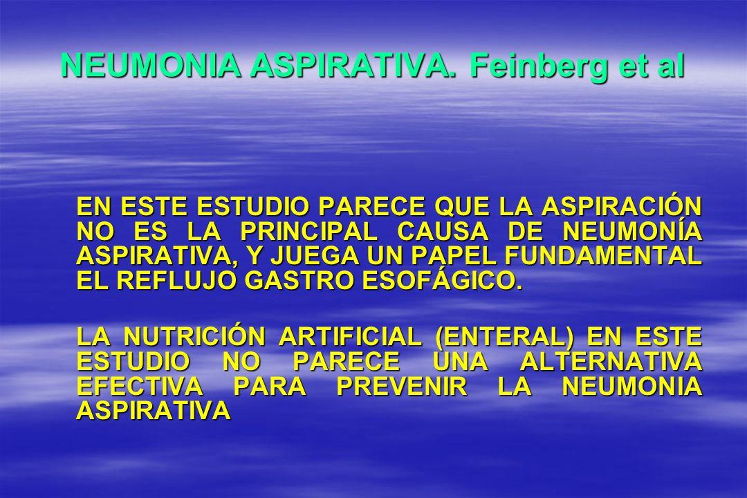 NEUMONIA ASPIRATIVA. Feinberg et al EN ESTE ESTUDIO PARECE QUE LA ASPIRACIÓN NO ES LA PRINCIPAL CAUSA DE NEUMONÍA ASPIRATIVA, Y JUEGA UN PAPEL FUNDAME