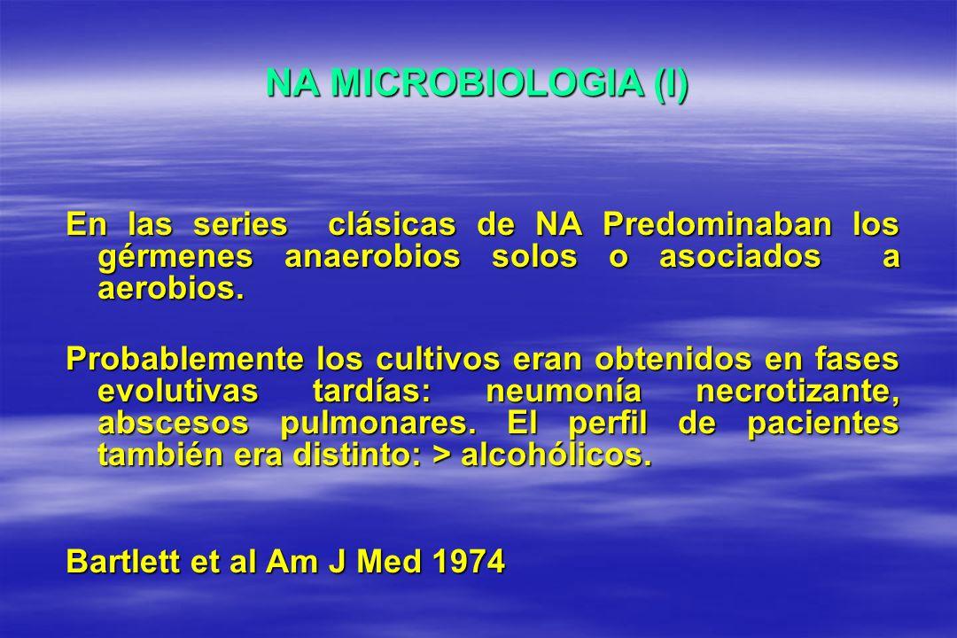 NA MICROBIOLOGIA (I) En las series clásicas de NA Predominaban los gérmenes anaerobios solos o asociados a aerobios. Probablemente los cultivos eran o