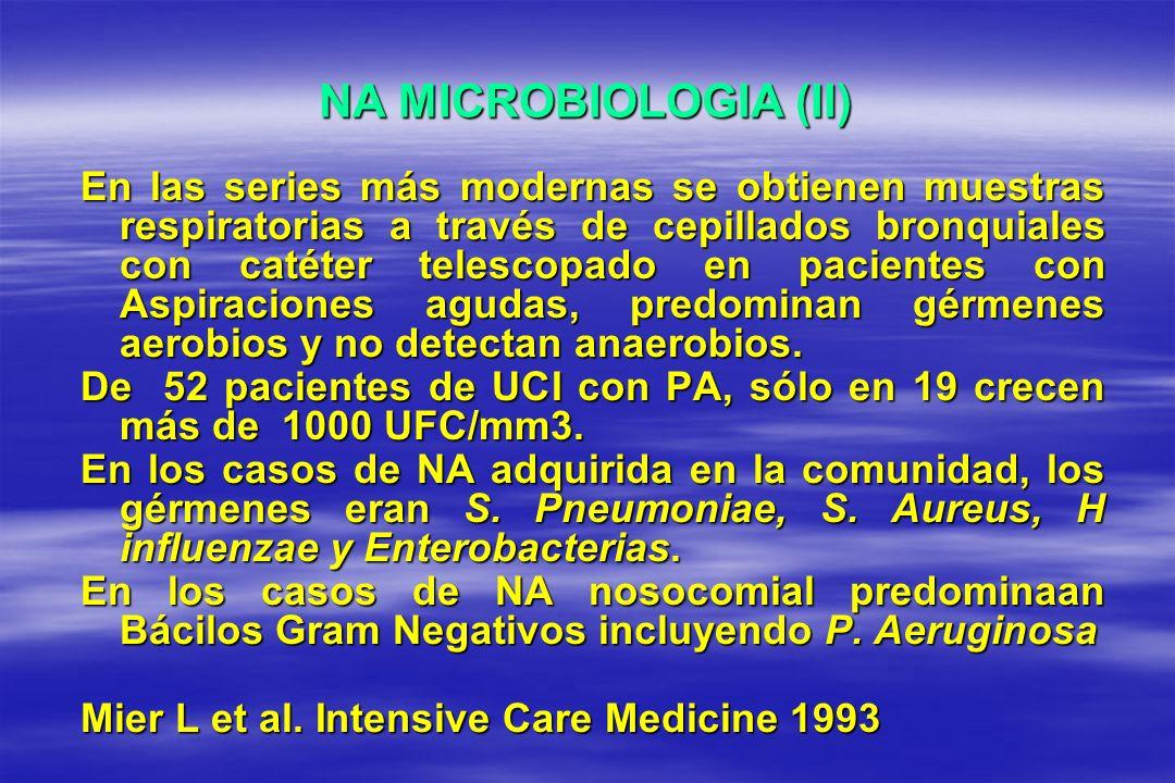 NA MICROBIOLOGIA (II) En las series más modernas se obtienen muestras respiratorias a través de cepillados bronquiales con catéter telescopado en paci