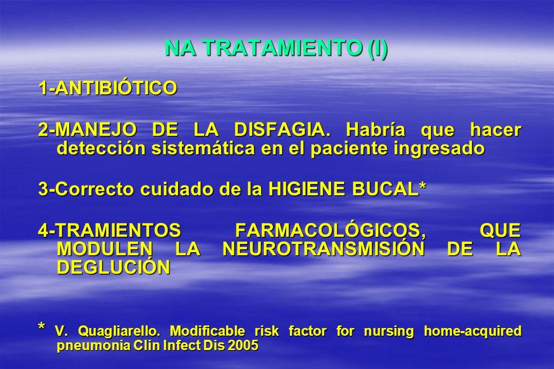 NA TRATAMIENTO (I) 1-ANTIBIÓTICO 2-MANEJO DE LA DISFAGIA. Habría que hacer detección sistemática en el paciente ingresado 3-Correcto cuidado de la HIG