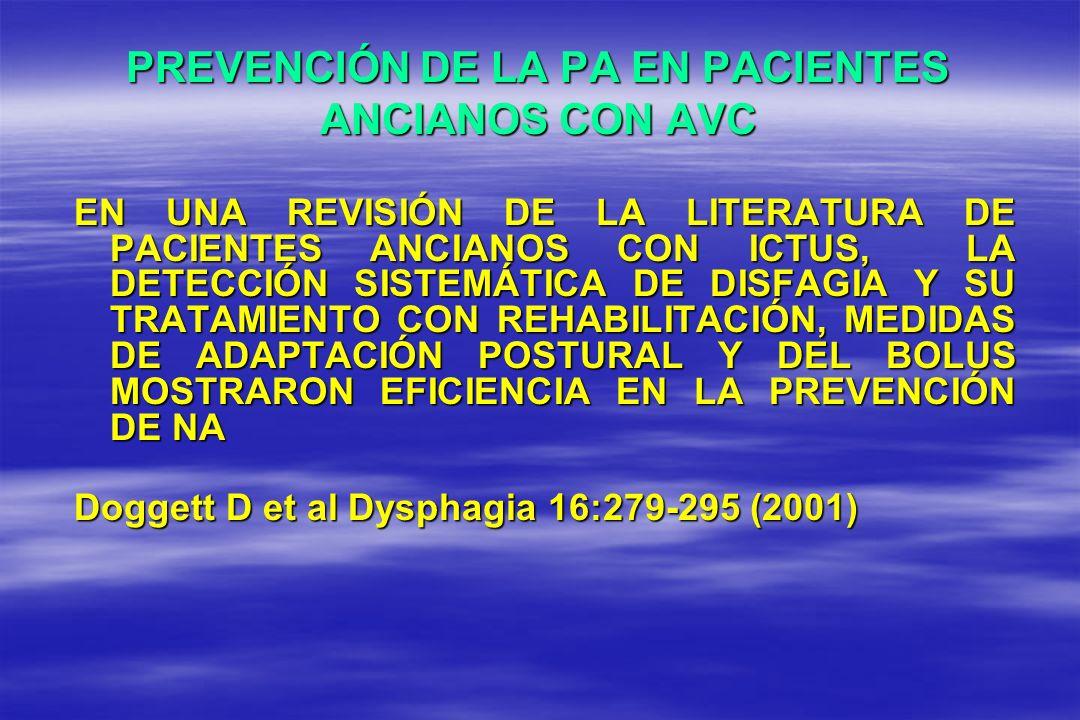 PREVENCIÓN DE LA PA EN PACIENTES ANCIANOS CON AVC EN UNA REVISIÓN DE LA LITERATURA DE PACIENTES ANCIANOS CON ICTUS, LA DETECCIÓN SISTEMÁTICA DE DISFAG