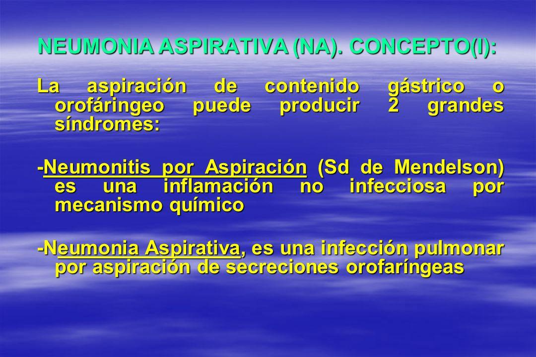 NEUMONIA ASPIRATIVA (NA). CONCEPTO(I): La aspiración de contenido gástrico o orofáringeo puede producir 2 grandes síndromes: -Neumonitis por Aspiració