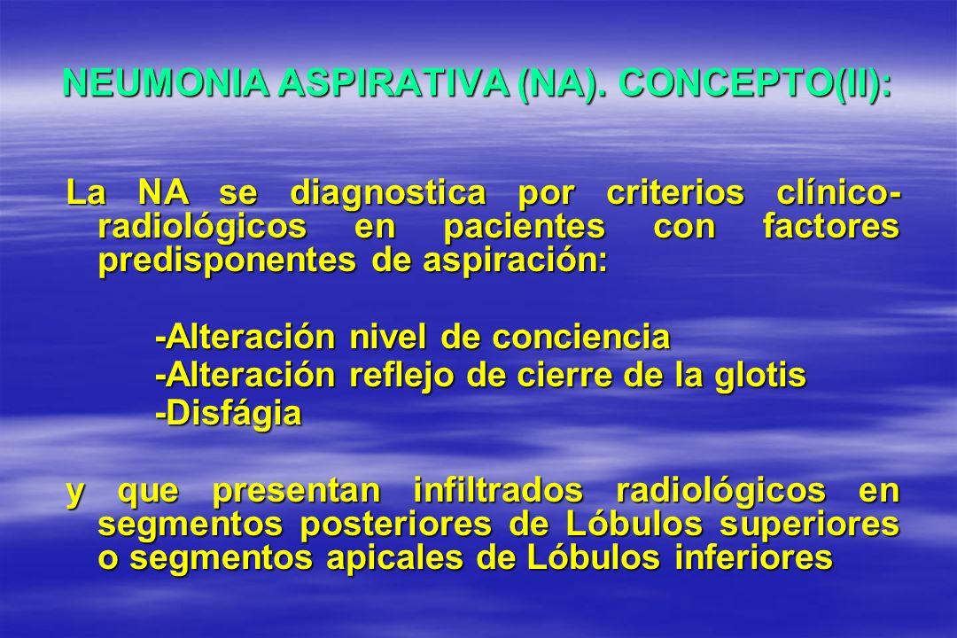 NEUMONIA ASPIRATIVA (NA). CONCEPTO(II): La NA se diagnostica por criterios clínico- radiológicos en pacientes con factores predisponentes de aspiració