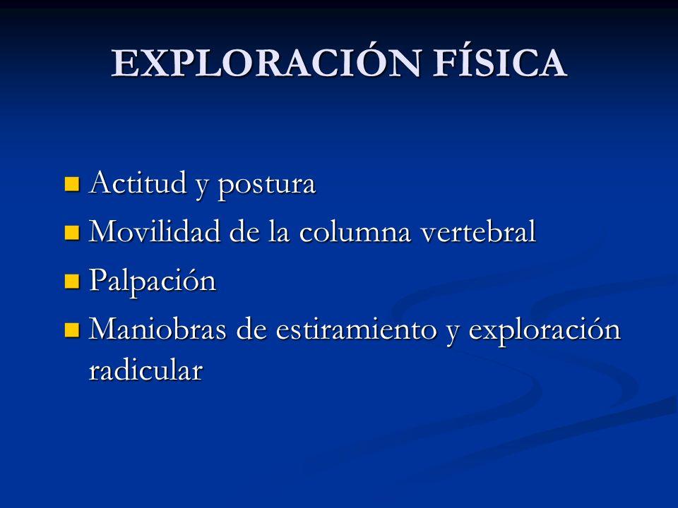EXPLORACIÓN FÍSICA Actitud y postura Actitud y postura Movilidad de la columna vertebral Movilidad de la columna vertebral Palpación Palpación Maniobr