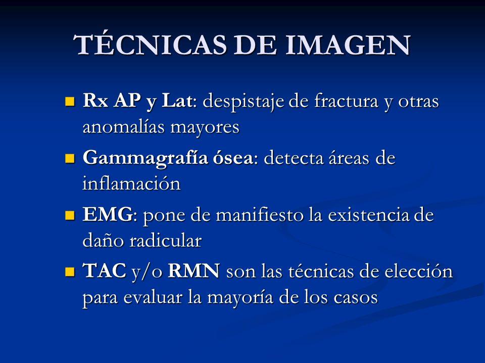 TÉCNICAS DE IMAGEN Rx AP y Lat: despistaje de fractura y otras anomalías mayores Rx AP y Lat: despistaje de fractura y otras anomalías mayores Gammagr
