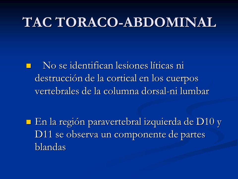 TAC TORACO-ABDOMINAL No se identifican lesiones líticas ni destrucción de la cortical en los cuerpos vertebrales de la columna dorsal-ni lumbar No se