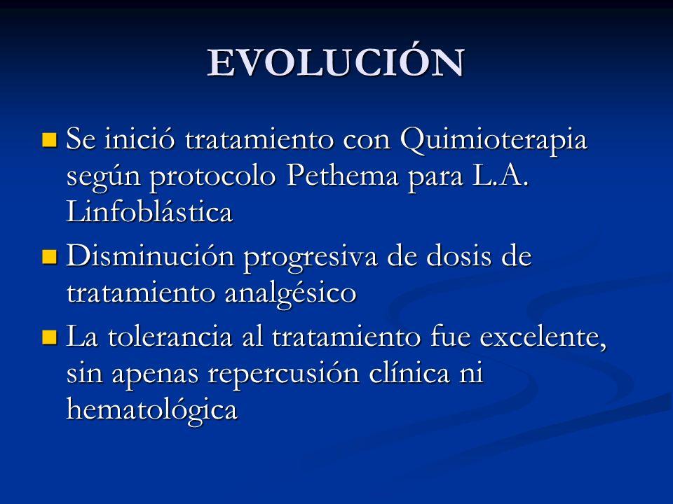 EVOLUCIÓN Se inició tratamiento con Quimioterapia según protocolo Pethema para L.A. Linfoblástica Se inició tratamiento con Quimioterapia según protoc