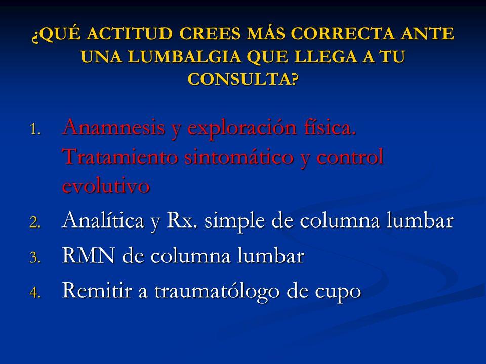 ¿QUÉ ACTITUD CREES MÁS CORRECTA ANTE UNA LUMBALGIA QUE LLEGA A TU CONSULTA? 1. Anamnesis y exploración física. Tratamiento sintomático y control evolu