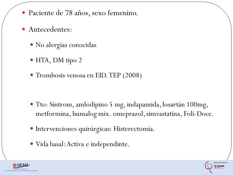 Paciente de 78 años, sexo femenino. Antecedentes: No alergias conocidas HTA, DM tipo 2 Trombosis venosa en EID. TEP (2008) Tto: Sintrom, amlodipino 5