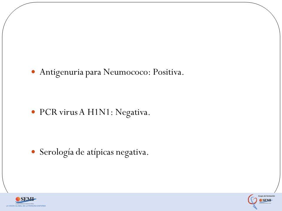 Antigenuria para Neumococo: Positiva. PCR virus A H1N1: Negativa. Serología de atípicas negativa.
