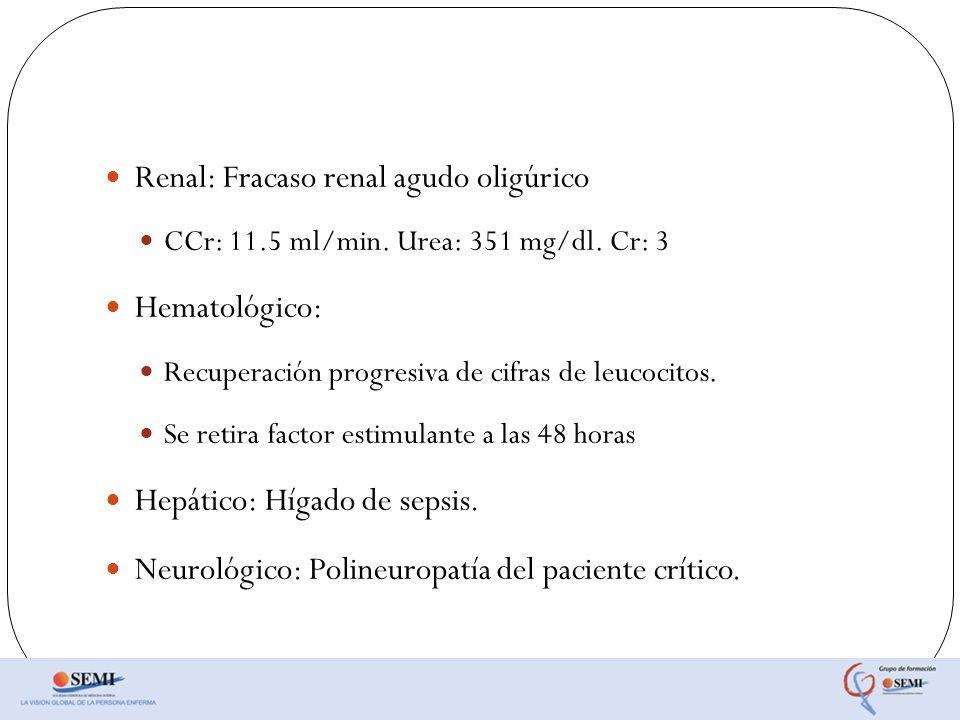 Renal: Fracaso renal agudo oligúrico CCr: 11.5 ml/min. Urea: 351 mg/dl. Cr: 3 Hematológico: Recuperación progresiva de cifras de leucocitos. Se retira