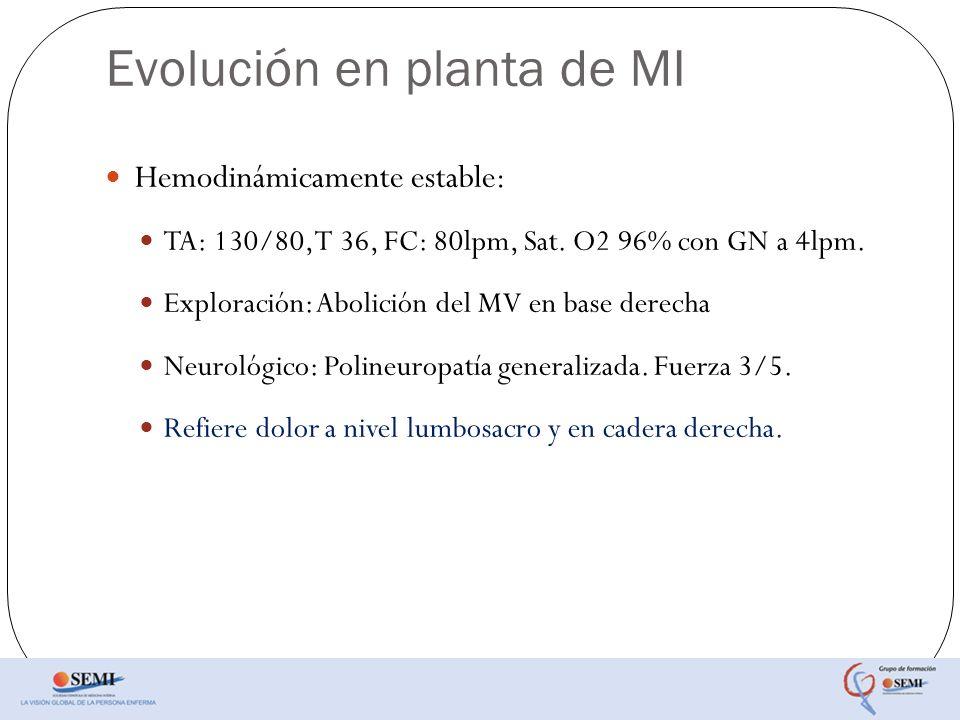 Evolución en planta de MI Hemodinámicamente estable: TA: 130/80, T 36, FC: 80lpm, Sat. O2 96% con GN a 4lpm. Exploración: Abolición del MV en base der