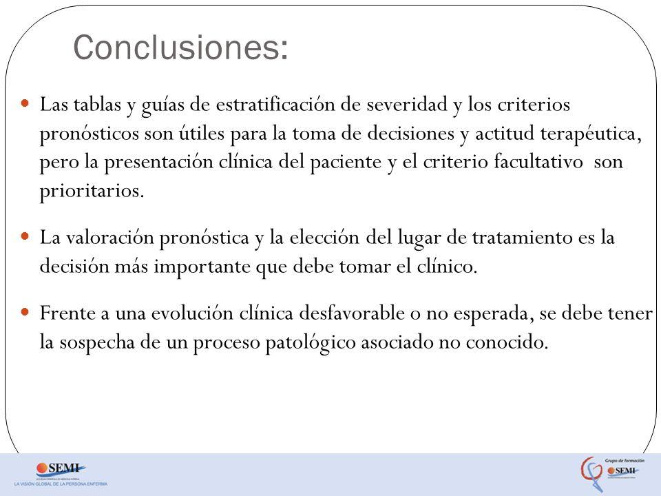 Conclusiones: Las tablas y guías de estratificación de severidad y los criterios pronósticos son útiles para la toma de decisiones y actitud terapéuti
