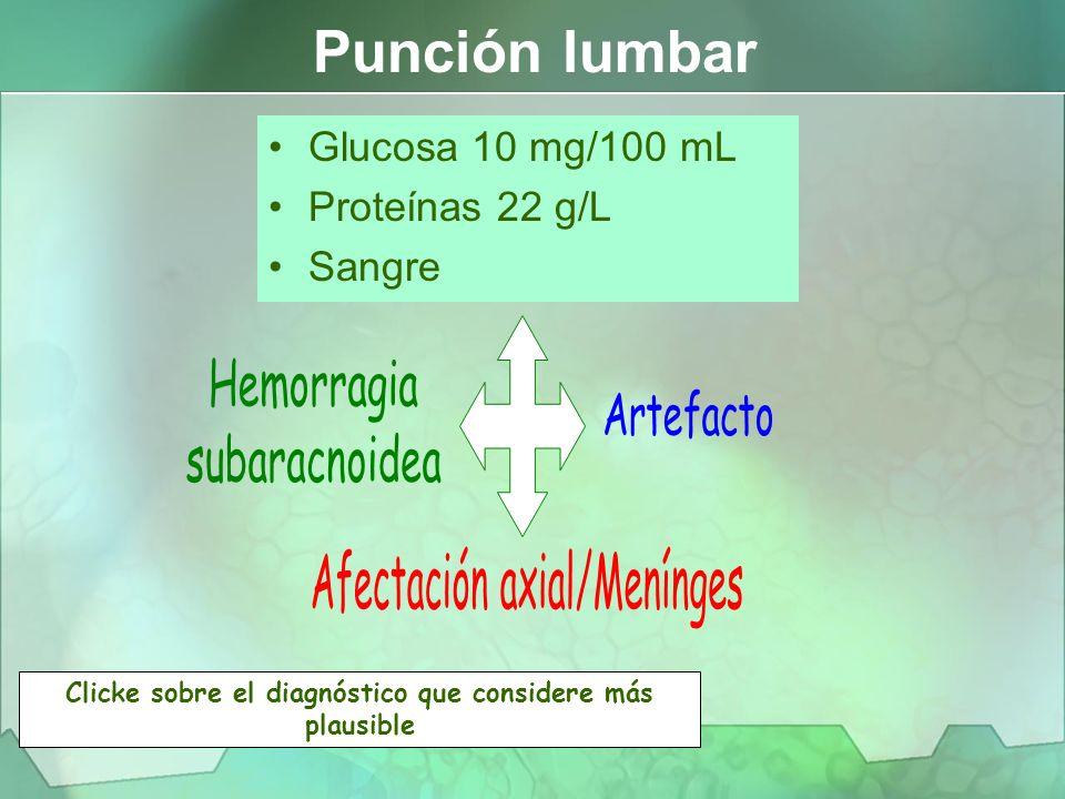 Glucosa 10 mg/100 mL Proteínas 22 g/L Sangre Punción lumbar Clicke sobre el diagnóstico que considere más plausible