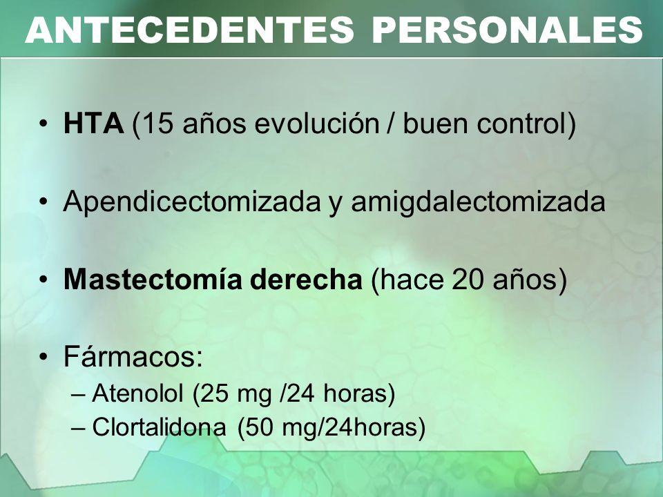 CLÍNICA Dolor torácico (varios días / osteomuscular) Coxalgia derecha Calambres en miembros inferiores Astenia